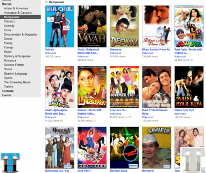 Watch Full Length Bollywood movies legally on Youtube &#038; Hulu