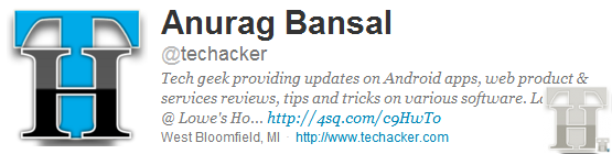 Shout out : Follow and share with @Techacker on Twitter