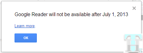 Google Reader Shutdown Notice